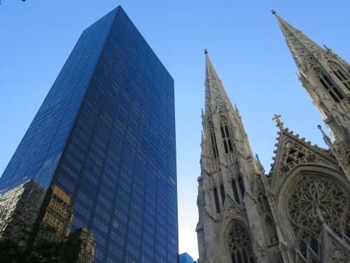 The New York Palace (that's our place on the 32nd floor) and St. Patrick's Cathedral
