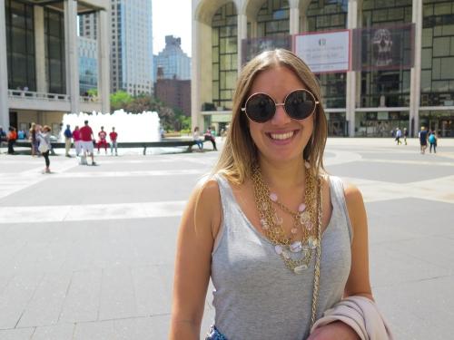 """Jocelyn outside the David H. Koch (aka """"El Diablo"""") Theater"""