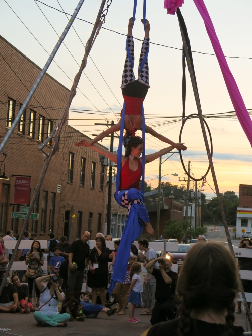 Performers on West Martin Street at sunset, June 5, 2015