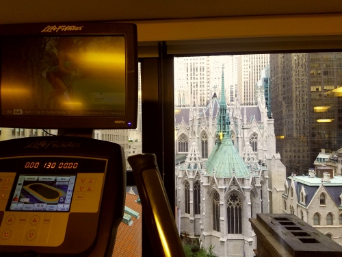 A view of St. Pat's from the hotel gym.